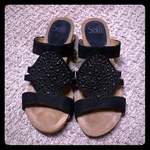 Black Sofft Vassey embellished wedges.